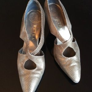 Pewter Color Criss-Cross Shoe
